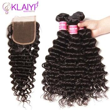 Klaiyi Hair Deep Wave Bundles With Closure Human Hair Bundles With Closure Natural Color Peruvian Hair Weave Bundles Remy Hair