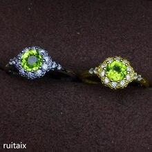 3add0c7055f6 KJJEAXCMY joyería fina 925 incrustaciones de plata natural olivino crystal  anillo embutido joyería de las mujeres