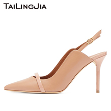 Pointed Toe High Heel Pink Woman Pumps Slingback Brand Women Shoes With Buckle 9 CM Plus Size Free Shipping Wholesale 2019 Hot