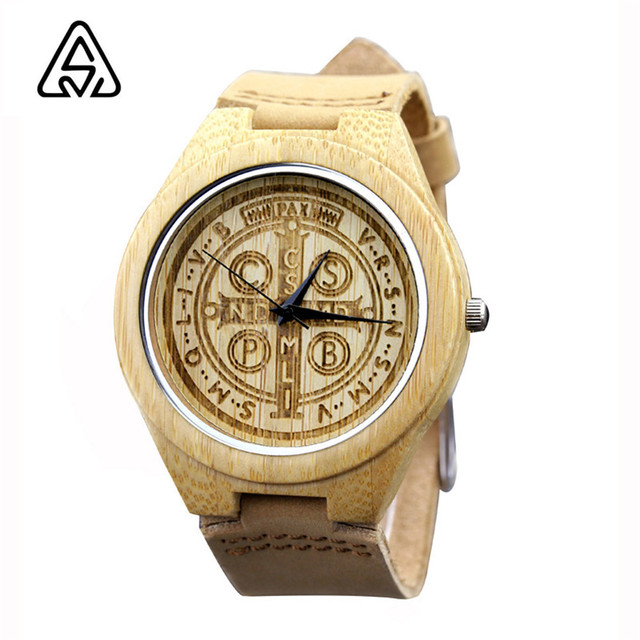 Casual Fashion Watches Bamboo Wood Quartz Watches Men Genuine Leather Straps Watch Best Gift