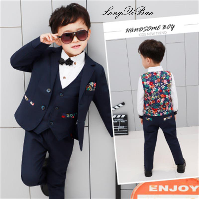 High quality 2018 autumn and winter new children's clothing boy suit dress suit flower girl suit four-piece performance show hos children s suit 2018 fashion england wind children s clothing autumn and winter boy plaid suit performance clothing