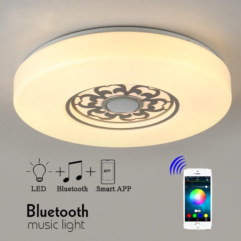 PMMA RGB затемнения светодиодный потолочный светильник с APP Bluetooth и музыка AC 110/240 В светодиодный смартфон приглушить обесцвечивание светильник