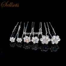 Sellsets Wholesale 8mm  10mm  14mm AB Crystal Flower Hair Pins Wedding  Hairpin Bridal Hair Accessories dcc0a38d2796