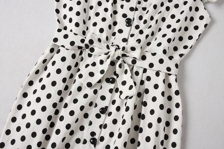ALPHALMODA 18 New Polka Dot Shirt Pocket Dress Petal Sleeve Single Breasted Slim Sashes Women Fashion Summer Vestidos 21