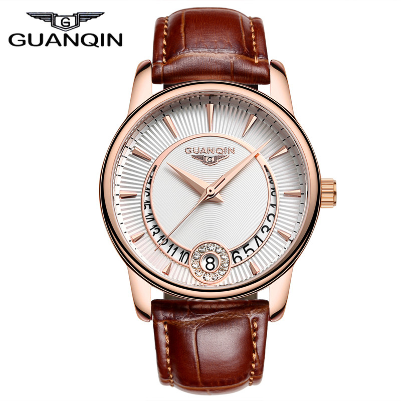 GUANQIN New Womens Watches Top Brand Luxury Crystal Watch Fashion Women Date Leather Dress Quartz Wristwatches