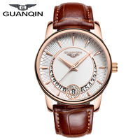 GUANQIN New Womens Watches Top Brand Luxury Crystal Watch Fashion Women Date Leather Dress Quartz Wristwatches reloj mujer