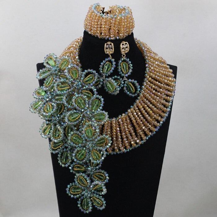 2016New Green Flowers Falls Wedding Bridal Necklace Set Dubai Gold Champange Crystal Jewelry Set Anniversary Free shippingABL853