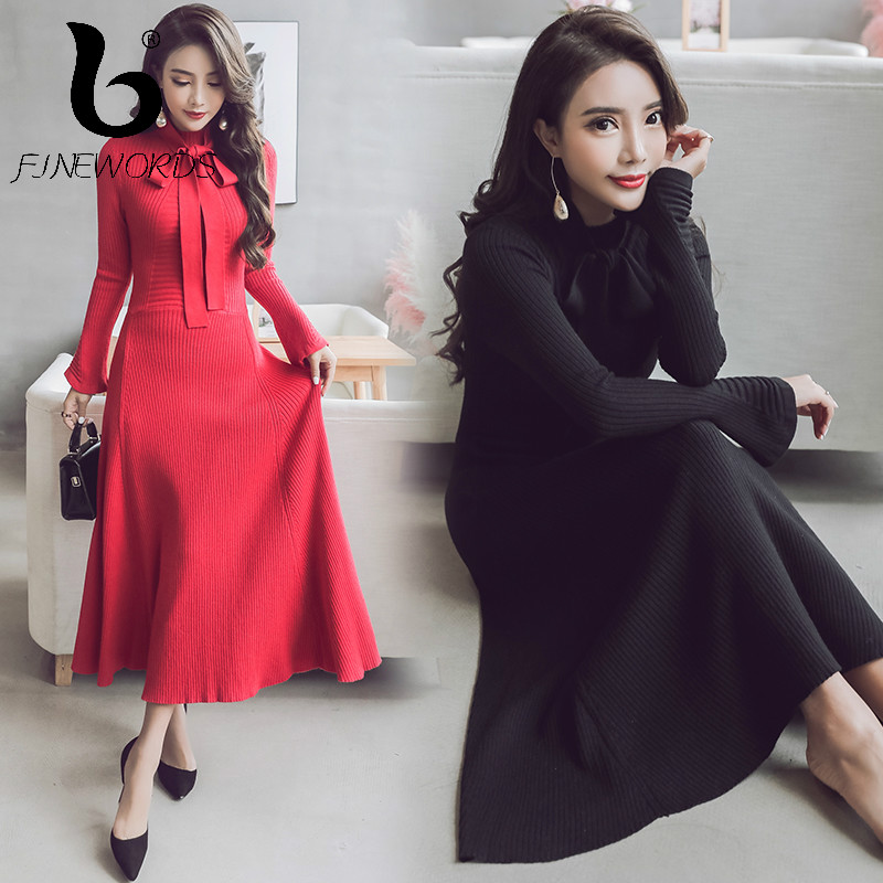 9c7454eacd0af FINEWORDS Autumn Winter Elegant Knit Dress Women Office Lady Korean Slim  Knitted Long Dress Solid Bow