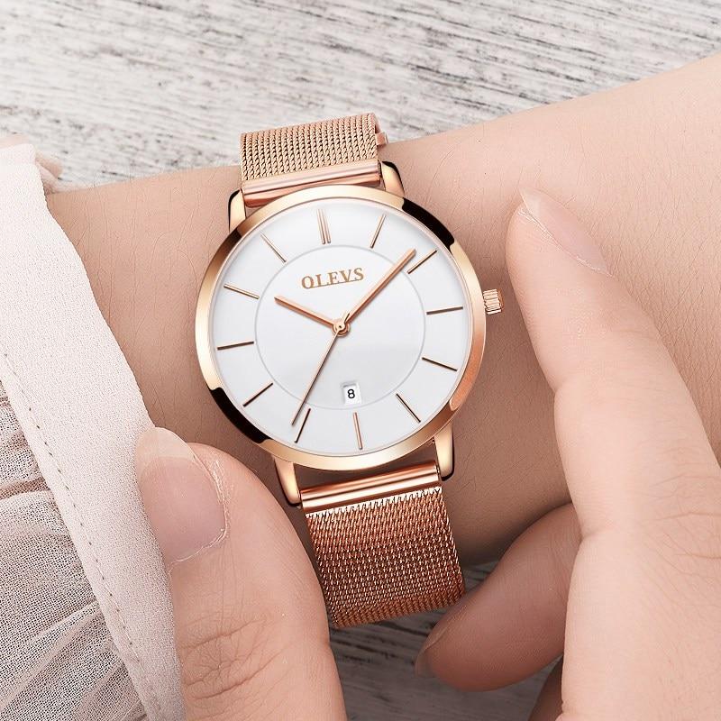 Zelta pulkstenis OLEVS zīmola ūdens izturīgs pulkstenis Sieviešu modes gadījuma kvarca dāmām Skatīties pilnu tērauda rokas pulksteni relogio feminino