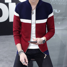 2017 new tide of the spring and autumn period and the men's wear cardigan thin striped sweater handsome sweater