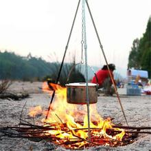 Buy HobbyLane Outdoor Camping Picnic Cooking Tripod Hanging Durable Portable Campfire Picnic Pot Cast Iron Fire Grill Hanging Tripod directly from merchant!