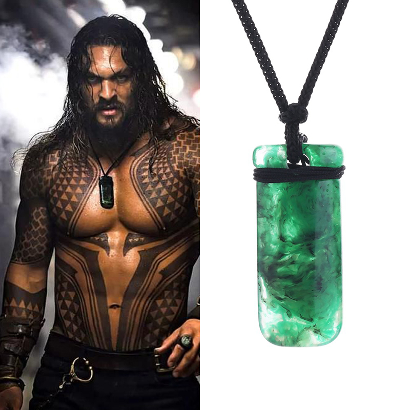 Movie Superhero Aquaman Green Necklace Ewelry Justice League Mysterious power Pendant Cosplay Props Cosplay Costume