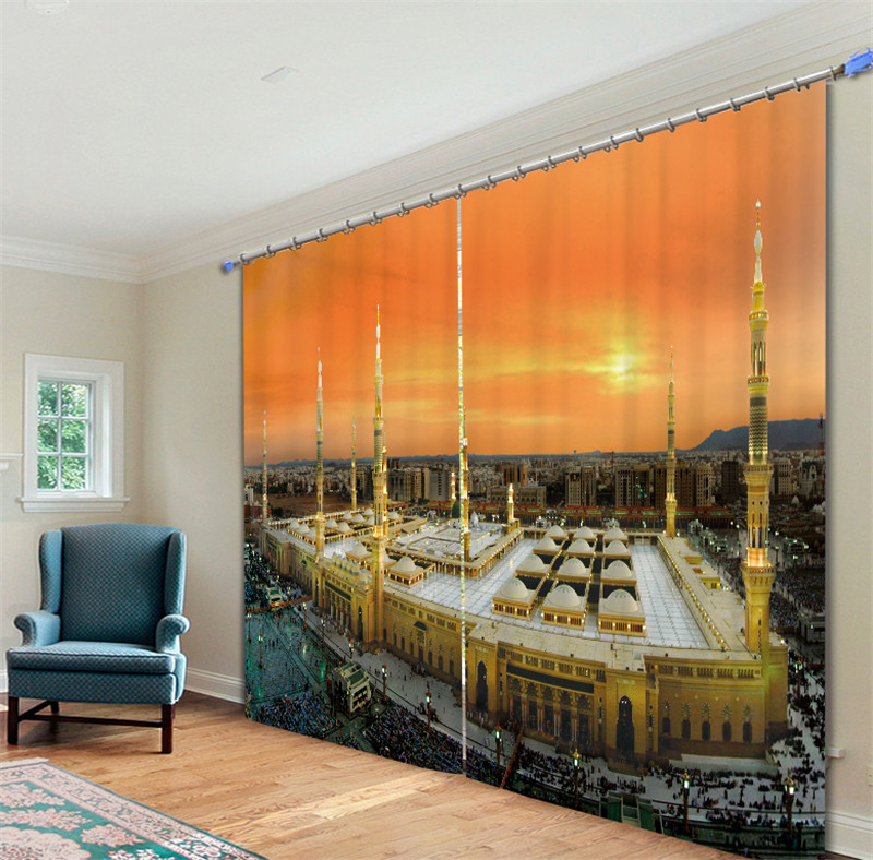 2017 Mosque Luxury 3D Blackout Curtains Drapes For Kitchen