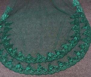 Image 3 - תמונות אמיתיות ירוק חתונה רעלה נדבך אחד בלינג פאייטים תחרה כלה רעלה עם מסרק יפה אביזרי חתונה