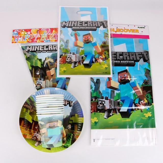 Minecraft Tema Decoração Da Festa de Aniversário Prato de Papel Copo de papel Guardanapo Bandeira/Bandeira Caixa de Doces de Palha Conjunto Talheres Bebê Chuveiro Partido suprimentos