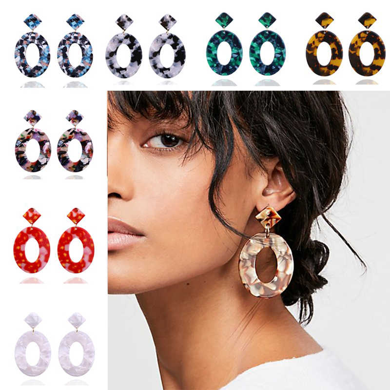 Geometry Square Tortoiseshell Earrings Wholesale Brincos 2019 Fashion ZA Jewelry Women Acrylic Resin Dangle Earrings