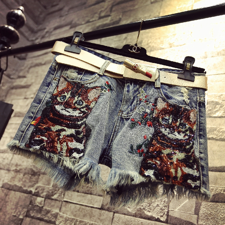 Summer Sequins Shorts Women Embroidery Sequins Cats Slim Denim Shorts Personality Hot Trousers Female Student Vintage Jeans
