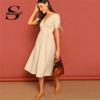 b7528230440a89 Sheinside Elegant Deep V Neck Midi Dress Women 2019 Summer High Waist A  Line Dresses Ladies