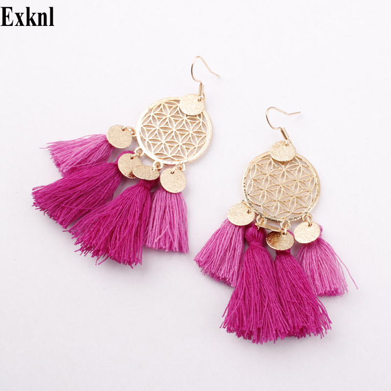 Tassel Drop Earrings Women Bohemia Earrings Female Ethnic Long Big Earrings Fashion Jewelry Statement Vintage Earrings Wholesale
