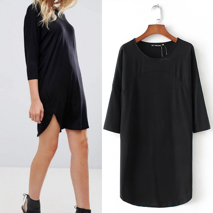 2018 Spring New Fashion Dress Women Casual O-neck Black Three Quarter Sleeve Dress Sexy WQZ43993
