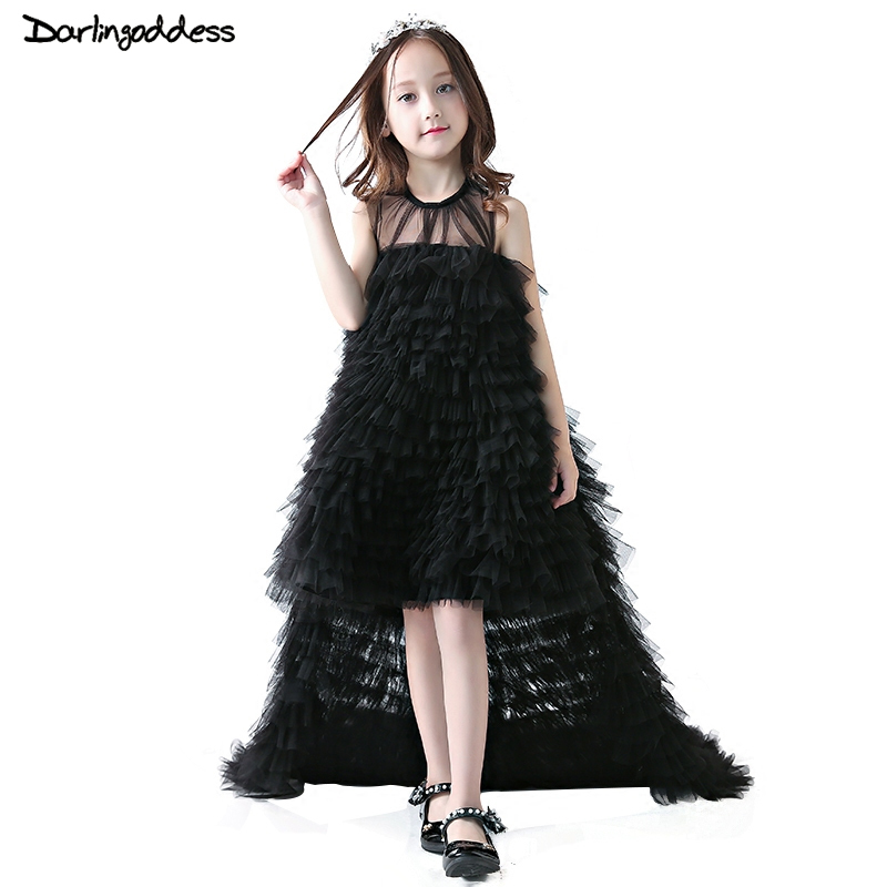 Puffy Black Pagean   Dresses   For   Girls   Glitz   Flower     Girl     Dresses   2018 Ball Gown First Holy Communion   Dress   With Detachable Train