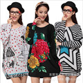 50 Colors! 2016 New Big Plus Size Flower Print Women Hoody Sweatshirt Winter Vintage Casual Vestidos Tunic Top Fit: 3XL~4XL~5XL