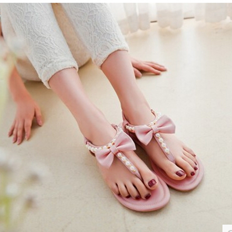 Lsewilly Women new fashion spring summer bow pearl flip-flop gladiator elastic strap flat heel sandals slipper shoes  S262 ecological footprinting