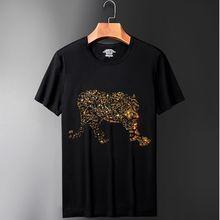 Роскошный дизайн футболка со стразами повседневная с коротким рукавом o-образным вырезом с принтом хлопковая Футболка мужская