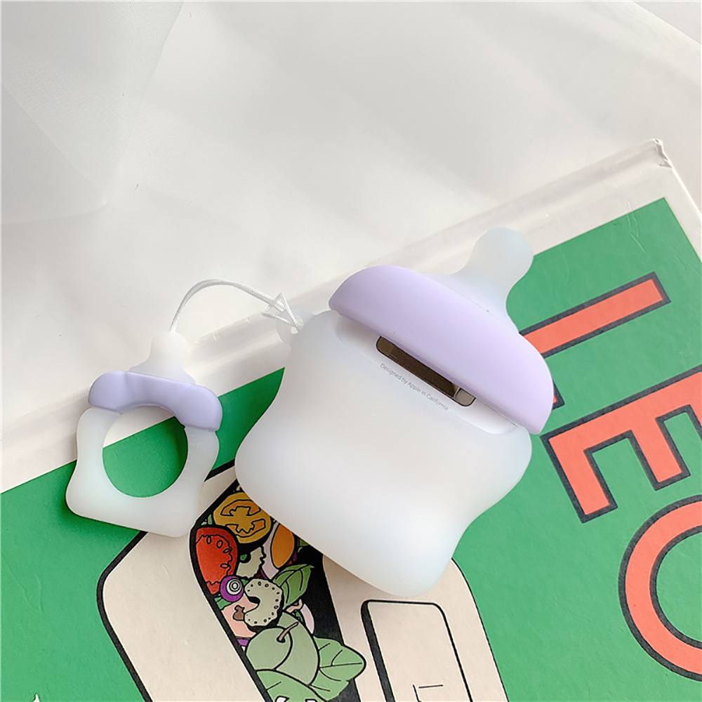 Cute 3D Baby 39 s Bottle Case For Airpods Soft Silicone Wireless Bluetooth Earphone Case For Airpods 2 Cover With Finger Ring Strap in Earphone Accessories from Consumer Electronics