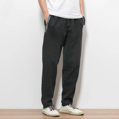 Stile Cinese Pantaloni Elastici Casuali Mens Pantaloni Sportswear Cotone Di Tela Uomini Sciolti Grande Big Plus Size Navy Stagione Sweat Pant
