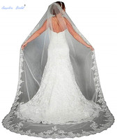 Sapphire Bridal Women's White/Ivory Lace Edge Satin Long Chiffon Wedding Cape Hooded Cloak Bridal Cape Shawl Wrap Veils