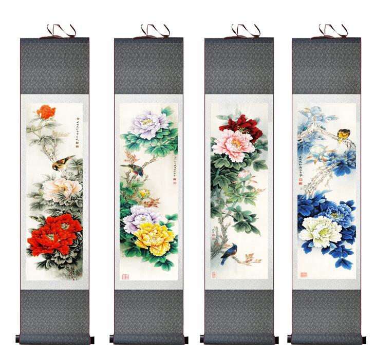 4ks / lot květ malování hedvábí svitek malování tradiční květina malování čínský květ obrázek V praní malování
