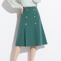 2019 Spring Women Clothes Fashion Reseda Skrit Korea Knee Length All Match Office Ladies Skirts Womens Sexy Grace Solid A Line