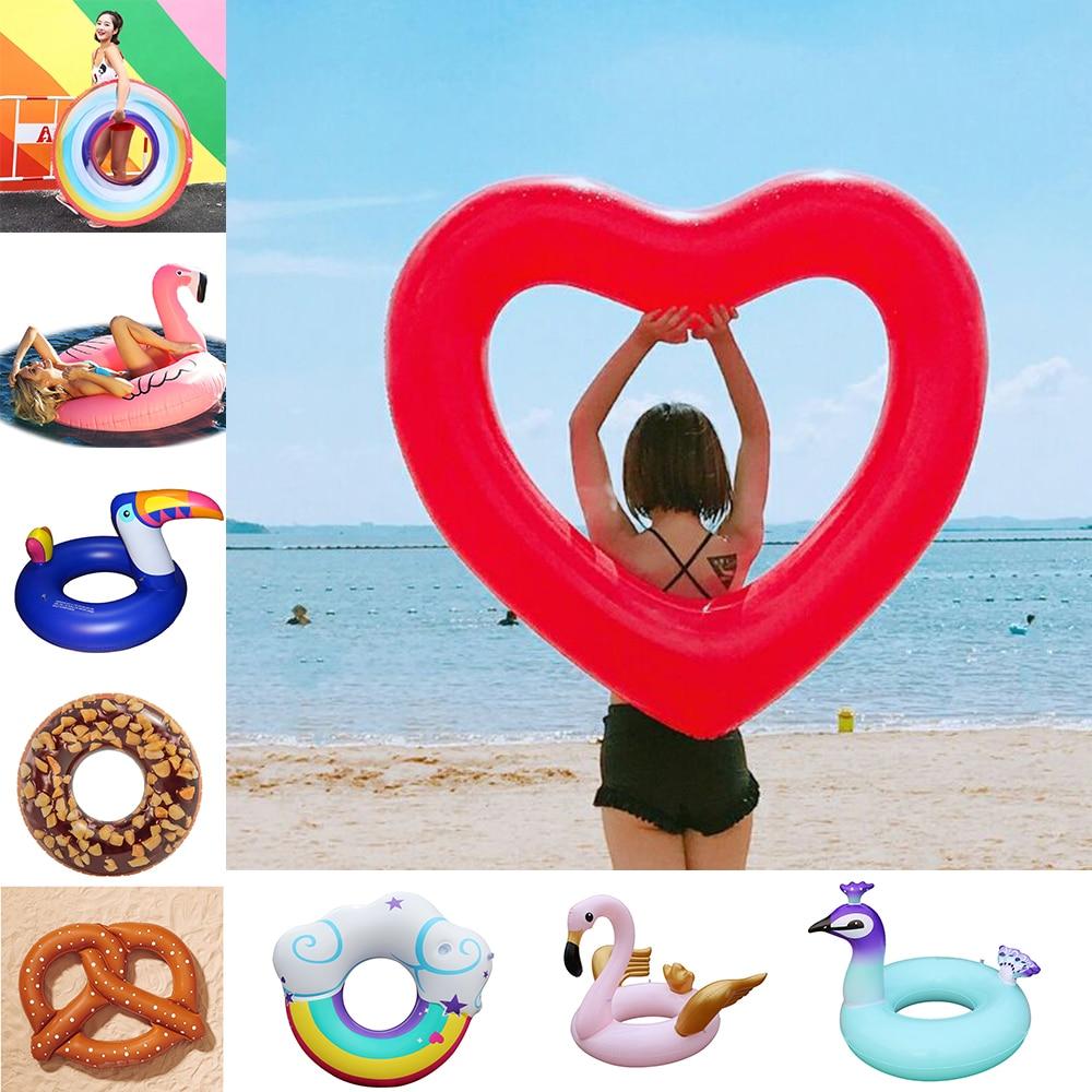 25 Style Inflatable Flanmingo Giant Pool Float Swim Ring Swimming Pool Inflatable Unicorn Circle Water Toys Beach Seat Mattress