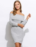 Sexy Off Shoulder Knitted Dress Casual Quarter Sleeve Bodycon Solid Dress Party Dresses Plus Size Ukraine Hot Pencil Dress
