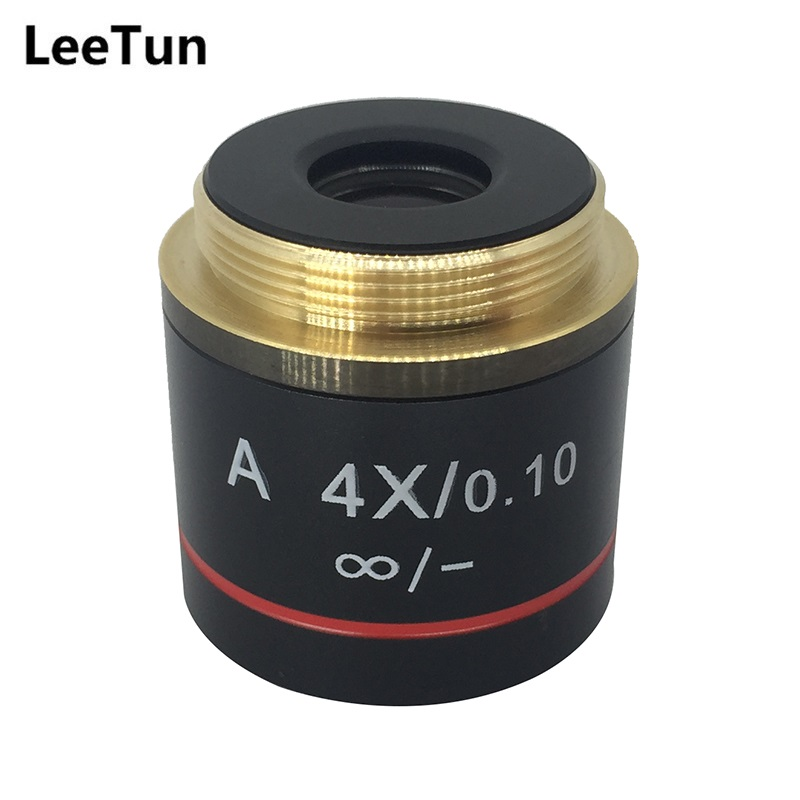 LeeTun A 4X/0.10 Achromatic Infinity Objective Lens for Biological Microscope Zeiss Olympus Infinity Microscope brand new microscope achromatic objective lens 4x 10x 40x 100x set free shipping