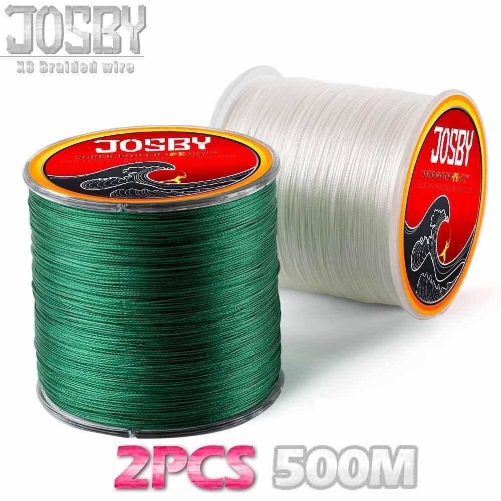 JOSBY 2 pièces 500 m 4 brins 8 brins multicolore PE tressé fil Multifilament Super forte ligne de pêche 15LBS-80LBS 2018 nouveau
