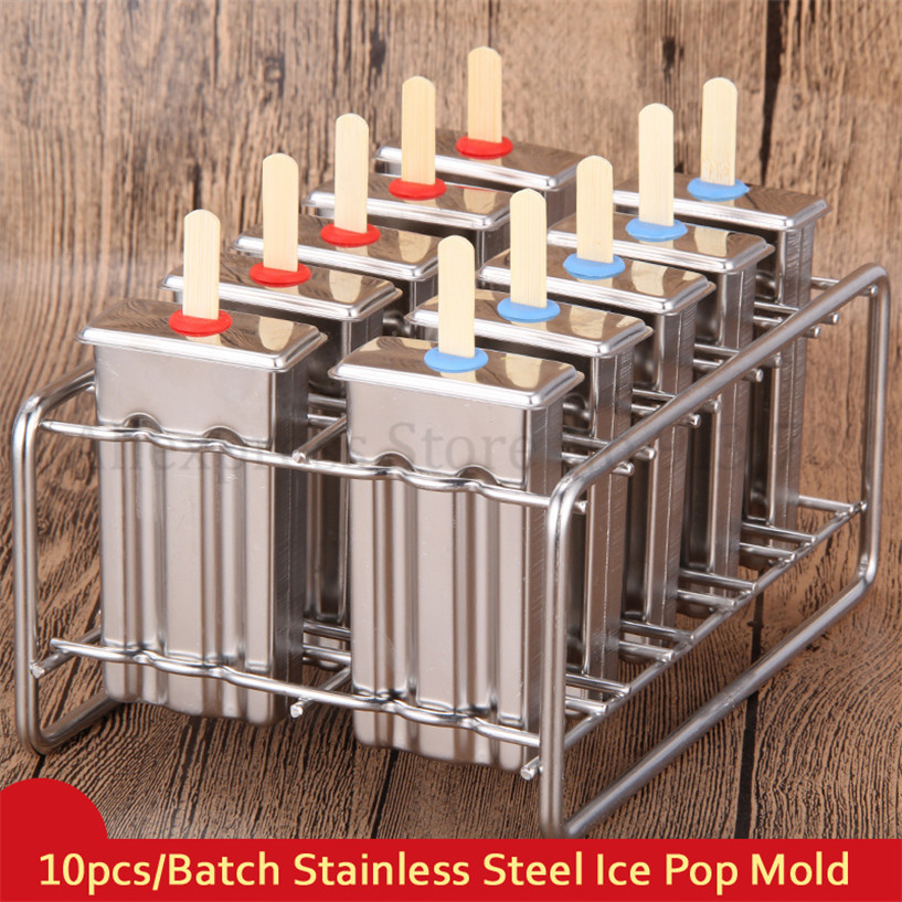 10pcs/Batch Ice Pop Mold Home DIY Popsicle Durable Stainless Steel Ice-cream Mould Lolly with Stick Holder frozen stainless steel popsicle molds 10pcs batch stick holder silver home diy round flat ice cream moulds