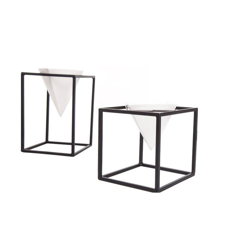 Creative suspendus décor en céramique Vase décoration de la maison en métal carré fleur Pot plante graine Vase ornement ménage salon artisanat