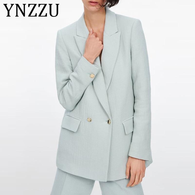 YNZZU Elegant Notched Collar Office Lady Blazer Women 2019 New Double Breasted Long Sleeve Loose Female Jacket Suit Coat AO975