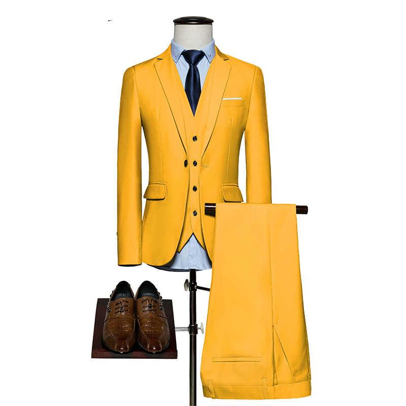 メンズスーツ 2019 スリムフィット 3 ピース新郎の結婚式のスーツ M-6XL 赤黄色ダークグリーン白紫男性 (ジャケット + パンツ + ベスト)