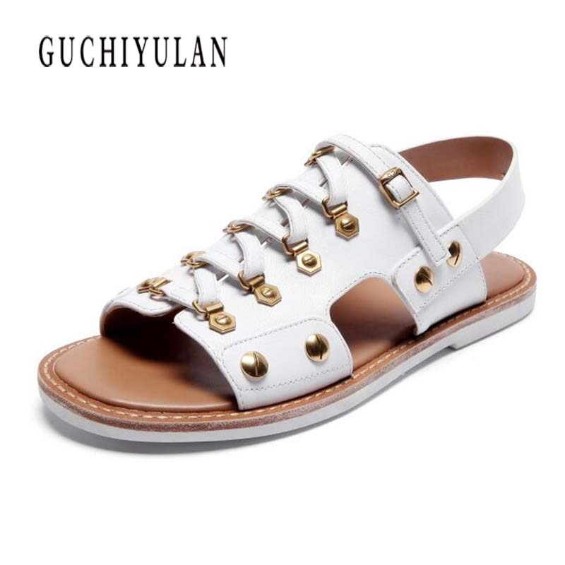2018 new women sandals cow genuine leather flat sandals summer fashion woman punk gladiator leather ladies sandals and slippers 2016 summer women flat platform slippers fashion hemp rope insole ladies genuine leather buckle sandals designer espadrilles