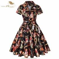 SISHION Cotton Plus Size Retro Vintage Rockabilly Dress Black with Cowgirl Print Short Sleeve Women Ladies Autumn Dress SD0002