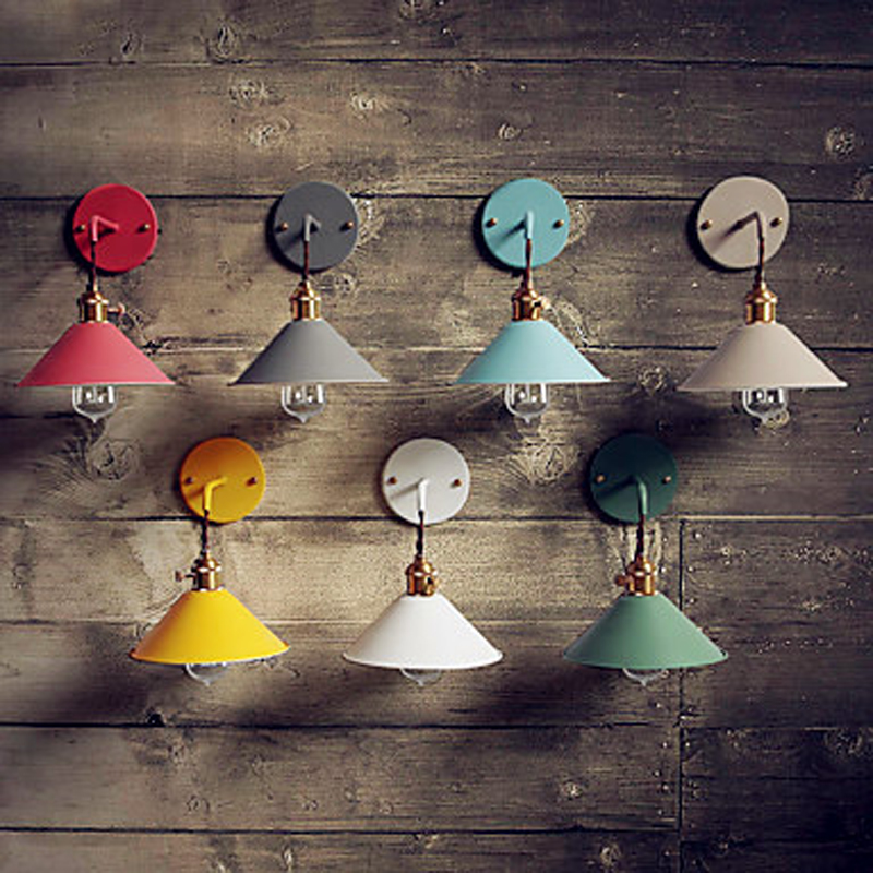 Nordic Retro Vintage Wall Light Fixtures Colorful Shade Edison LED Wall Lamp Style Loft Industrial Wall Sconce LamparasNordic Retro Vintage Wall Light Fixtures Colorful Shade Edison LED Wall Lamp Style Loft Industrial Wall Sconce Lamparas