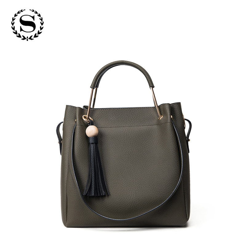 Top-Handle Fashion Women Tassel Bags Retro Large Shoulder Bag Leather Drawstring Handbags Bucket Bags Solid Bolso Mujer ZZ545 2017 fashion all match retro split leather women bag top grade small shoulder bags multilayer mini chain women messenger bags