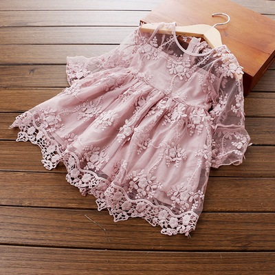 Spring Summer Children's Clothing Baby  Lace Embroidered Horn Short Sleeved Dress Princess Dress Baby Girl Dress