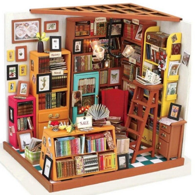 Cuteroom handmake diyドールハウスは本屋ドールハウスミニチュア3d led家具キットライトボックスギフト用子供  グループ上の おもちゃ & ホビー からの ドールハウス の中 2