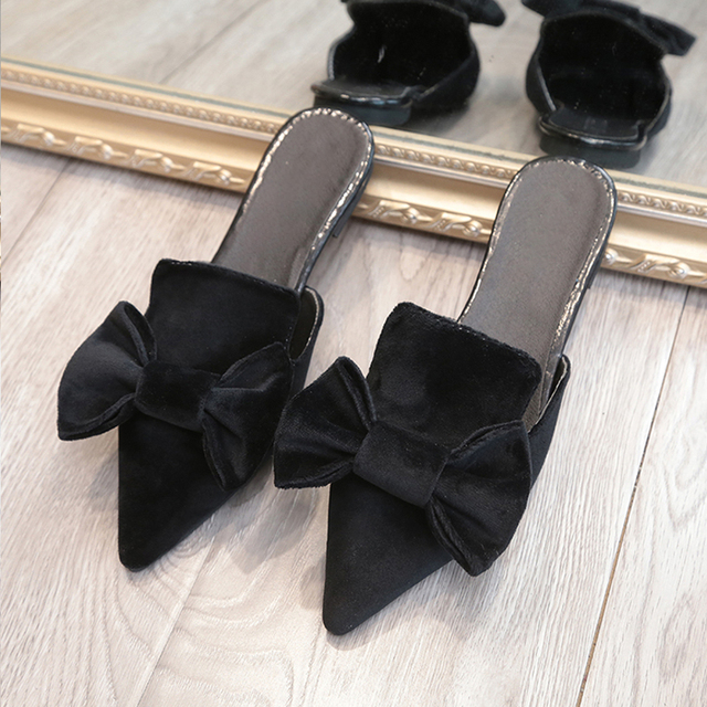 4758f0d3729e7f MCCKLE Women Slippers Bowtie Velvet Flat With Shoes Pointed Toe Squre Low  Heel Summer Slipper Sweet Mules Fashion Ladies Slides 43.7 ₪. Black
