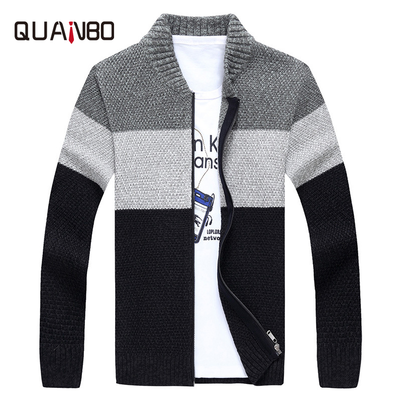 QUANBO Men Sweater Brand Clothing Spring Autumn Winter New Arrival Knitted Sweater Coat Fashion Casual Men Zipper Cardigan Gray