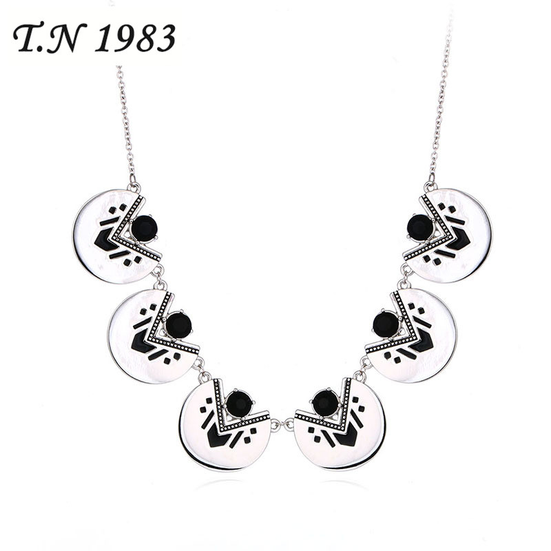 T.N 1983 Bohemia Style Geometric Chains Necklaces Metal
